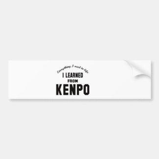 I Learned From Kenpo. Car Bumper Sticker