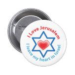 I Leave my heart in Israel - I love Jerusalem Pinback Buttons