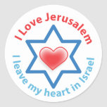 I Leave my heart in Israel - I love Jerusalem Stickers