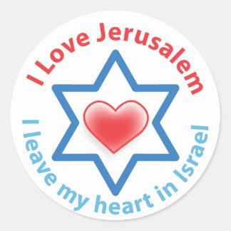 I Leave my heart in Israel - I love Jerusalem Round Sticker