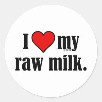 I leche cruda del corazón pegatina redonda