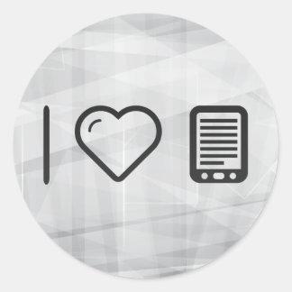 I lectores de Ebook del corazón Pegatina Redonda