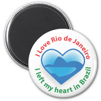 I Left My Heart in Brazil - I Love Rio de Janeiro 2 Inch Round Magnet