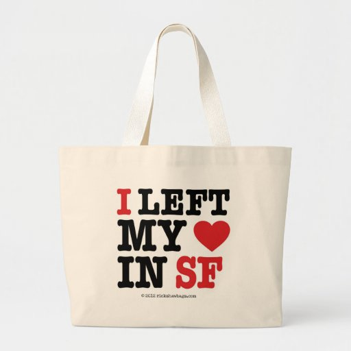 I Left My Heart Large Tote Bag