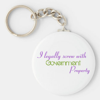 I legally screw with , Government, Property Basic Round Button Keychain