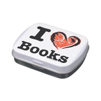 ¡I libros del corazón! ¡Amo los libros! (Corazón d Jarrones De Caramelos
