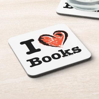 ¡I libros del corazón! ¡Amo los libros! (Corazón d Posavasos De Bebidas