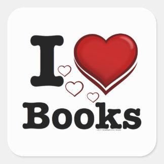 ¡I libros del corazón! ¡Amo los libros! (Corazón Calcomania Cuadradas Personalizada