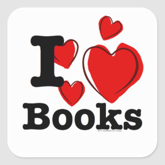 ¡I libros del corazón! ¡Amo los libros! (Corazón Calcomanía Cuadrada