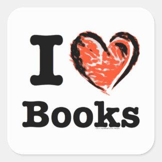 ¡I libros del corazón! ¡Amo los libros! (Corazón Pegatina Cuadrada