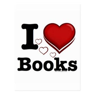 ¡I libros del corazón! ¡Amo los libros! (Corazón Tarjetas Postales