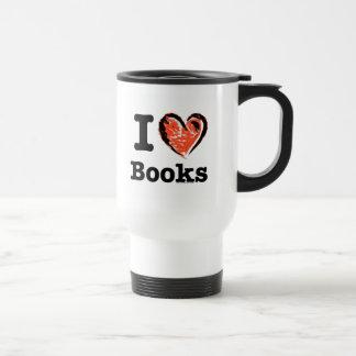 ¡I libros del corazón! ¡Amo los libros! (Corazón Taza De Viaje De Acero Inoxidable