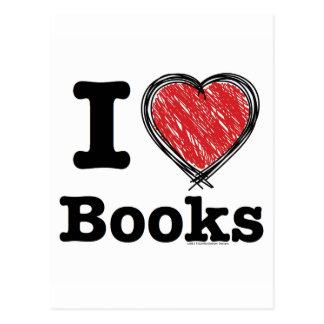 ¡I libros del corazón ¡Amo los libros Garabatea Postal