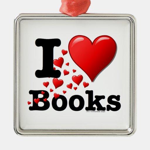 ¡I libros del corazón! ¡Amo los libros! (Rastro de Adorno Navideño Cuadrado De Metal
