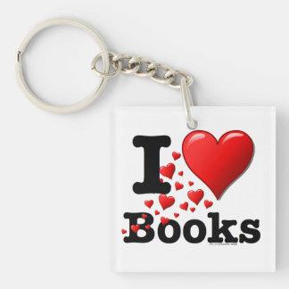 ¡I libros del corazón! ¡Amo los libros! (Rastro de Llavero Cuadrado Acrílico A Una Cara