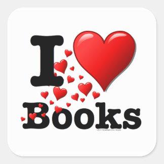 ¡I libros del corazón! ¡Amo los libros! (Rastro de Pegatinas Cuadradases Personalizadas