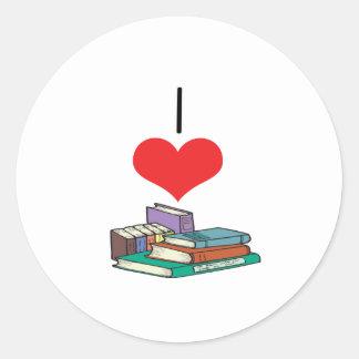 I libros del corazón (amor) pegatinas redondas