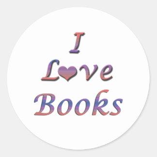 I libros del corazón (amor) pegatina redonda