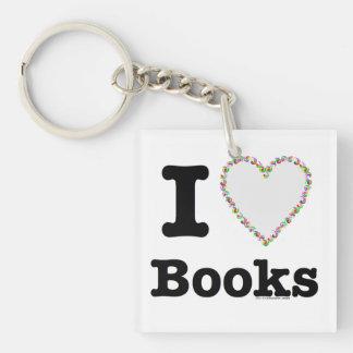 ¡I libros del corazón - libros del amor de I! Llavero Cuadrado Acrílico A Una Cara