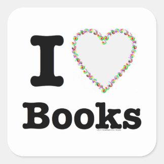 ¡I libros del corazón - libros del amor de I! Pegatinas Cuadradases