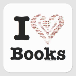 ¡I libros del corazón - libros del amor de I! Calcomanía Cuadradas Personalizada