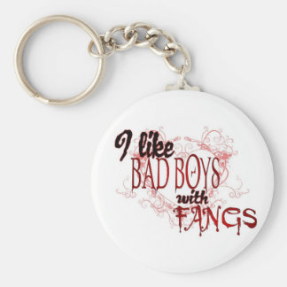 I like Badboys with Fangs Basic Round Button Keychain