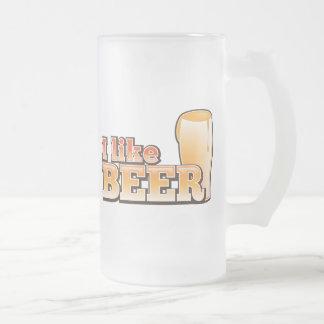 I LIKE BEER alcohol drink design Frosted Glass Beer Mug