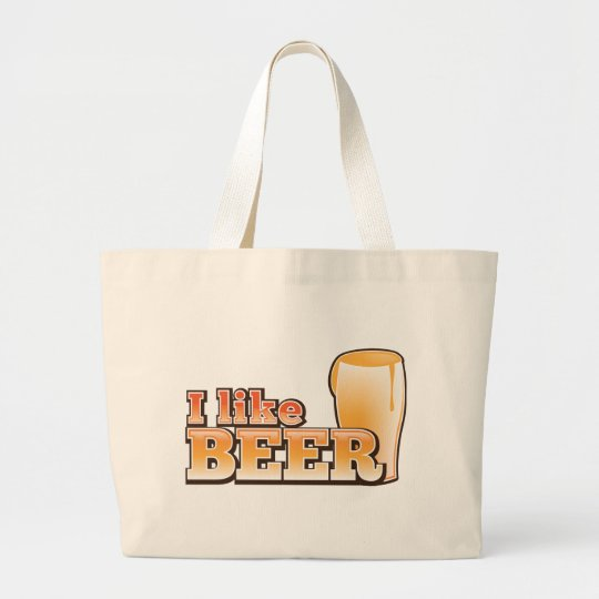 I LIKE BEER alcohol drink design Large Tote Bag