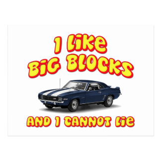 I Like Big Blocks And I Cannot Lie Chevy Camero Postcard