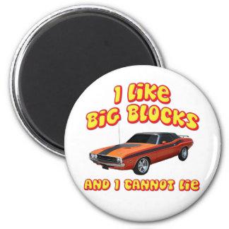 I Like Big Blocks & I Cannot Lie Dodge Challenger 2 Inch Round Magnet