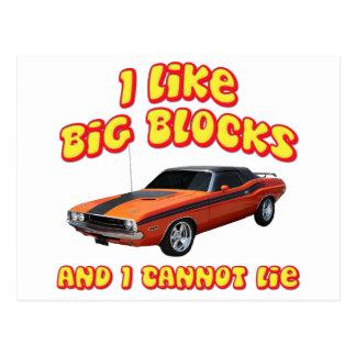 I Like Big Blocks & I Cannot Lie Dodge Challenger Postcard