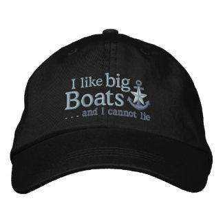 I like big boats Humor Nautical Silver Star Anchor Baseball Cap