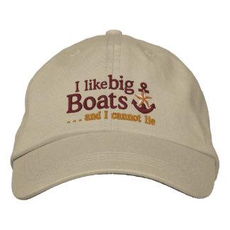 I like big boats Humorous Nautical Star Anchor Embroidered Baseball Cap