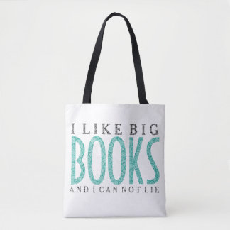 I Like Big Books Black & Teal Text Design Tote Bag