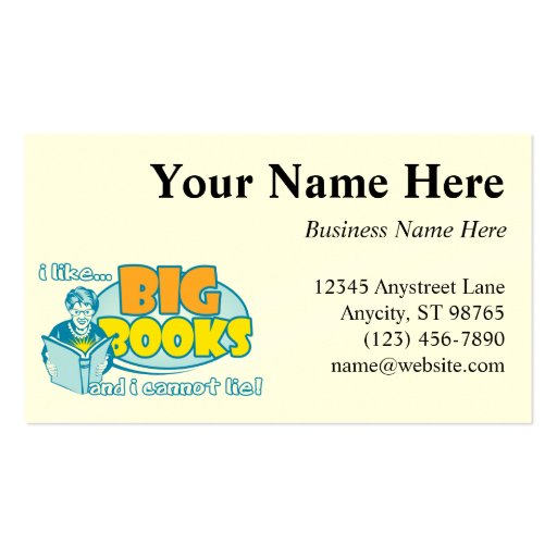 I Like Big Books Double-Sided Standard Business Cards (Pack Of 100)