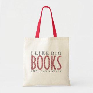 I like Big Books Dark Red Text Design Tote Bag