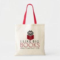 I like Big Books With Cute Owl Tote Bag