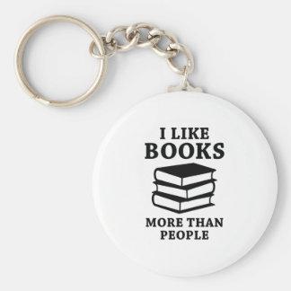 I Like Books More Than People Keychain