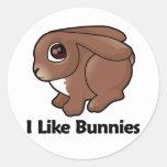 I Like Bunnies Classic Round Sticker
