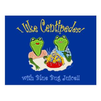 I Like Centipedes with Blue Bug Juice Postcard