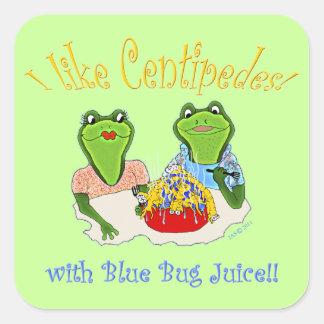 I Like Centipedes with Blue Bug Juice Square Sticker