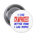 I Like Chimpanzees Better Than I Like People Butto Button