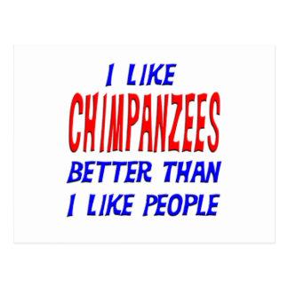 I Like Chimpanzees Better Than I Like People Postc Post Card