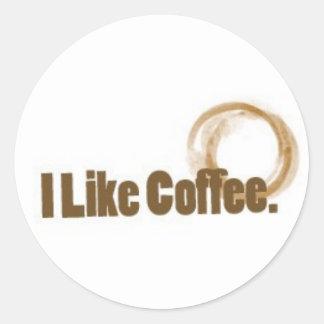 I Like Coffee Round Stickers