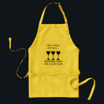 "I like cooking with wine - Funny apron<br><div class=""desc"">I like cooking with wine... sometimes I even add it to the food!  Humorous saying makes a great hostess gift or one for you.</div>"