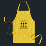 """I like cooking with wine - Funny apron<br><div class=""""desc"""">I like cooking with wine... sometimes I even add it to the food!  Humorous saying makes a great hostess gift or one for you.</div>"""