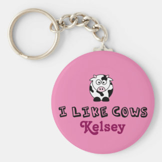 I Like Cows Personalized Pink Keychain