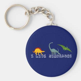 I Like Dinosaurs Blue Basic Round Button Keychain
