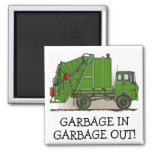 I Like Dirt Garbage Truck Green Magnet