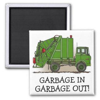 I Like Dirt Garbage Truck Green Magnet